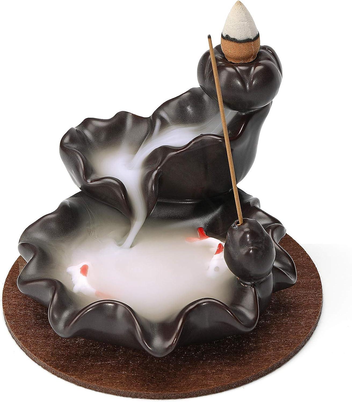 Incense Waterfall Holder, Backflow Incense Burner, Ceramic Lotus Smoke Fountain Incense Falls, Home Room Desk Zen Decor, Meditation Gifts for Men Women