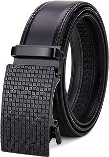 Tonly Monders Men's Dress Leather Belt Automatic Ratchet Buckle Belts For Men Black, 35mm Width