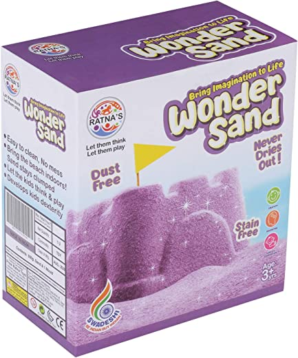 RATNA'S Wonder Sand 500 Grams for Play. Smooth Sand for Kids (Purple 500 Grams), ONE Big Mould Inside (Without Tray) 1