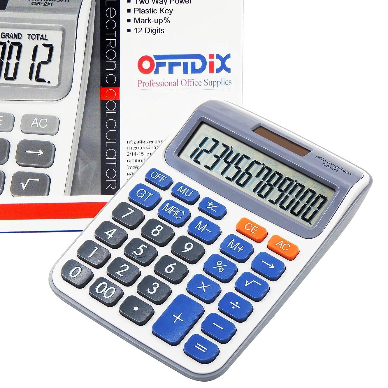 海峡一握りギネスoffidix最新Officeデスクトップ電卓、ソーラーと電池デュアル電源電子計算機ポータブル12桁電卓大型LCD表示