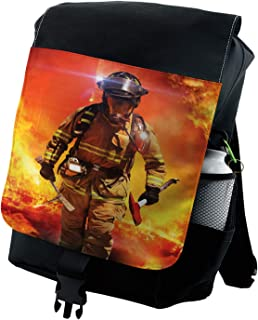 Lunarable Fireman Backpack, Emergency Services Theme, Durable All-Purpose Bag