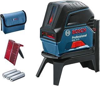 Bosch Professional 0601066E00 Nivel GCL 2-15 interior, con puntos de plomada, 3 pilas AA, soporte giratorio RM 1, placa reflectora, estuche de protección, Láser rojo sin maletín, 1.5 V, 15 m