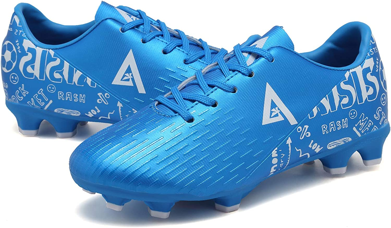 ANLUKE Kids Firm Ground Soccer Shoes Athletic Outdoor Sports Football Cleats Little Kid//Big Kid