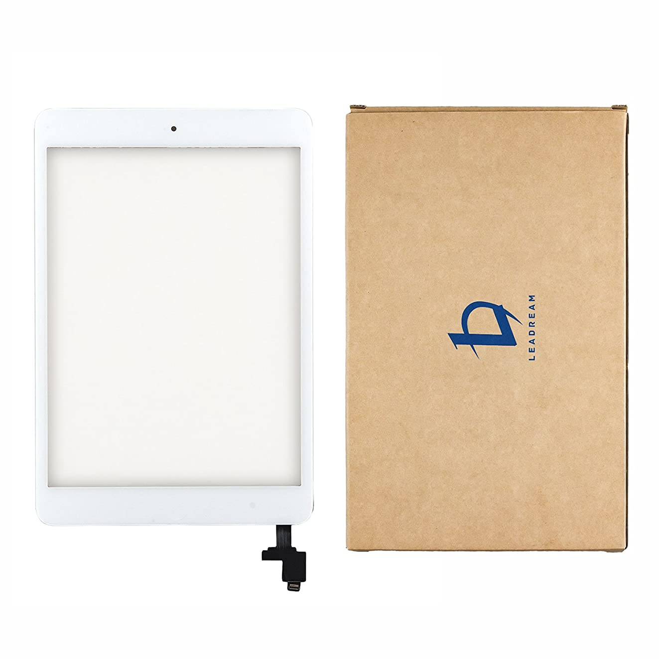 White Glass Screen Digitizer Complete Full Assembly for iPad Mini & Mini 2 with IC Chip, Home Button, OEM Adhesive