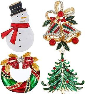 Broche navideño esmaltado, BETOY 4 piezas Alfileres De Broche De Navidad, Broche de Navidad,Pin con decoración navideña, b...