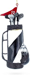 BestPysanky Golf Bag with Clubs Glass Christmas Ornament