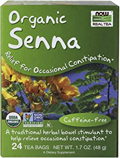 NOW Foods, Certified Organic Senna Tea, Caffeine Free, Relieving, Non-GMO, Premium Unbleached Tea Bags with No-Staples Des...