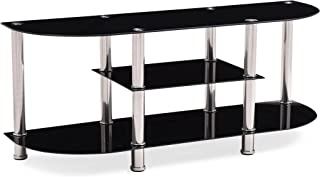 Hodedah Import Extra Wide Tempered Glass Tv Stand, Black