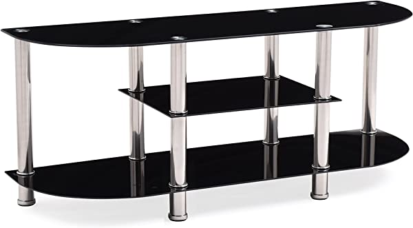 HODEDAH IMPORT HITV21 Extra Wide Tempered Glass Tv Stand Black