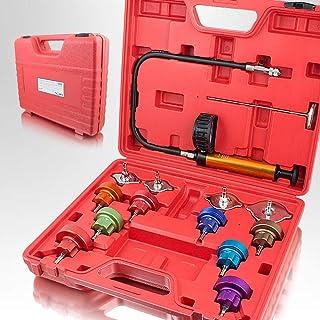BITUXX® KFZ Kühlsystem Abdrückgerät Druckprüfung Abdrücken Tester Kühler Werkzeug 14 teilig Messbereich 0 2,5 bar, Für alle gängigen PKW geeignet!