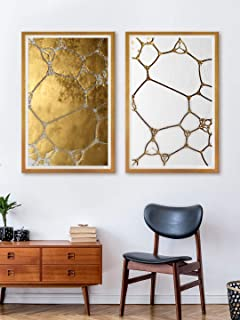 999Store Fiber painting wall for bedroom abstract art paintings living room Canvas Painting with frame golden and white (S...