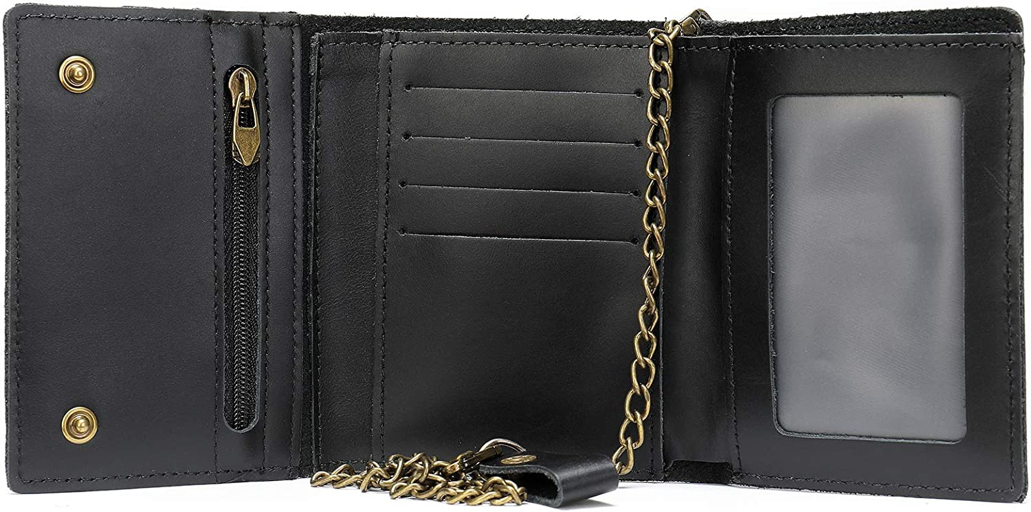 Mens Genuine Leather Small Trifold Wallet on Chain with ID Window and Zipper Pocket, Rfid Blocking