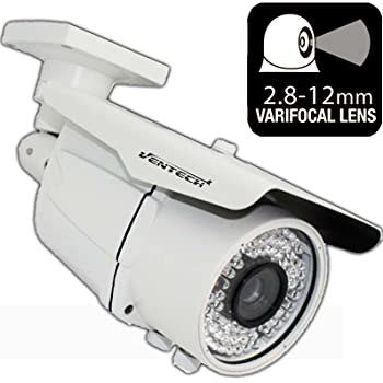 Ventech HD 1200TVL ((72 IR LED)) Awesome Quality Video CCTV cmos 2mp 1080p Sensor Bullet Camera Home Security Day/Night Infrared 72IR Night Vision Indoor Varifocal 2.8mm-12mm