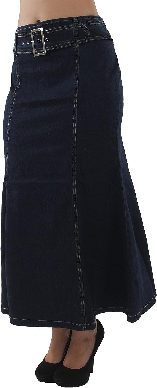 Womens Plus Size Trumpet Mermaid Front Belted Flare Long/Short Denim Skirt