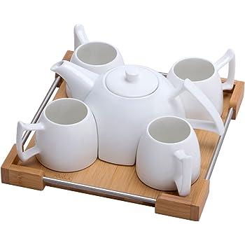 Mini Porcelain Tea Set - Ceramic Teapot Coffee Cup Set for Drinking Tea, Latte, Espresso, Water including White Tea Pot, 4 Cups, Bamboo Serving Tray