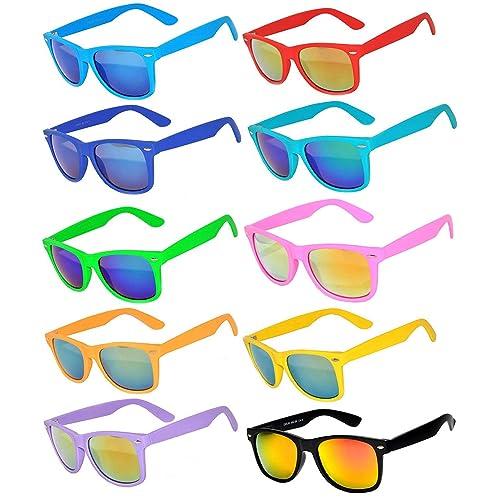 93f183ff0667 Classic Vintage Full Mirror Lens Sunglasses Colored Frame Matte Retro