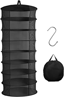 Herb Drying Rack, 8 Layer 2ft Hanging Drying Rack with Pothook and Pouch, Plant Drying Rack for Herbs Petals Plants Vegeta...