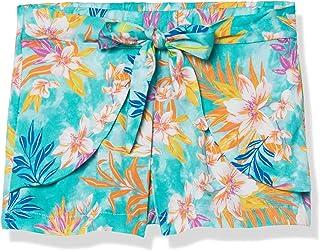 Hobie Girls Front Tulip Short Swimsuit Bottom, Sea Breeze//Tropical Tie Dye, 14