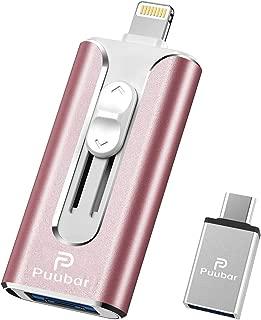 Puubar USBメモリ フラッシュドライブ iPhoneメモリ 人気 フラッシュメモリ 一本四役 スライド式 USB3.0 高速データ転送 iPhone/PC/Android/iPad対応 スマホ 容量不足解消 パスワード保護 Type-C変換アダプター付属 日本語取扱説明書付き (32GB, ピンク)