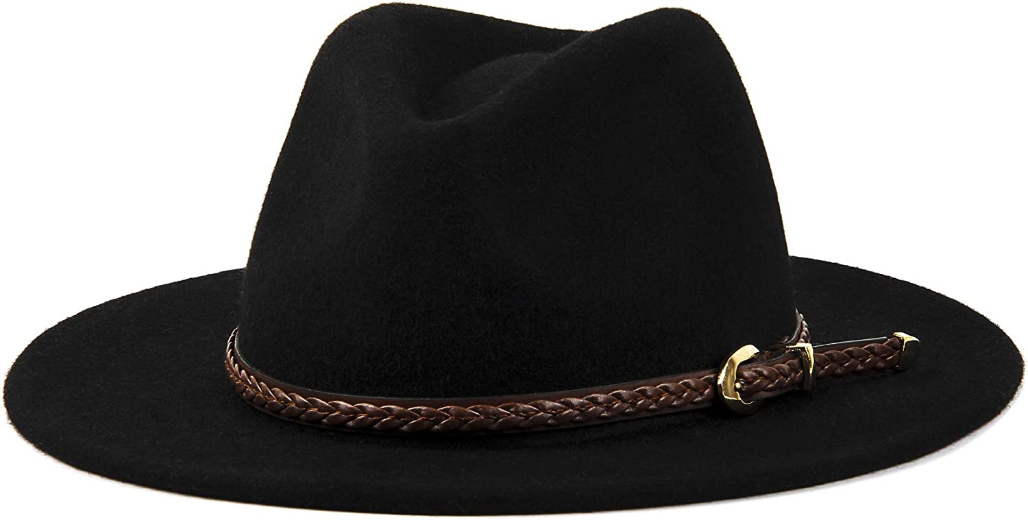 Vintage Classic Fedora 100/% Wool Wide Brim Panama Belt Buckle Woman Floppy Felt Hat