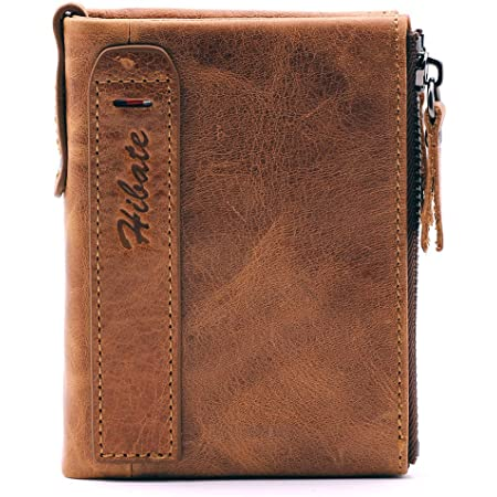 Hibate (Marrón) Cartera Cuero Hombre RFID Bloqueo Billetera Tarjetas de Crédito Carteras Piel Monedero