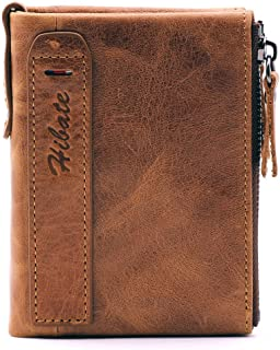 Hibate Men Leather Wallet RFID Blocking Men's Wallets Credit Card Holder Vertical Coin Pocket Purse - Brown