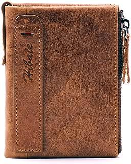 Hibate Men Leather Wallet RFID Blocking Men's Wallets Credit Card Holder Vertical Coin Pocket Purse - Brown