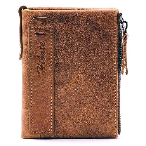 fc1ebe9ca4bb Hibate Men Leather Wallet RFID Blocking Men s Wallets Credit Card Holder  Coin Pocket Purse