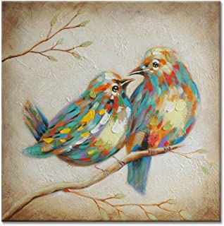 SEVEN WALL ARTS - 100% Hand Painted Modern Vintage Art Animal Colorful Quirky Birds Painting with Stretched Frame Wall Art for Home Decor Ready to Hang 24 x 24 Inch