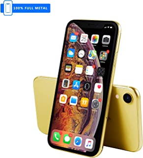 3rd Generation [Full Metal] Fake Dummy Display Compatible with Apple iPhone [Non-Working] 1:1 Scale Phone XR 10r 6.1 inch (Yellow HomeSreen)