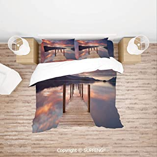 SCOXIXI 3D Duvet Cover Bedding Sets A Flooded Jetty in Derwent Water Lake District England Sunset Morning Photo (Comforter Not Included) Soft, Breathable, Hypoallergenic, Fade Resistant
