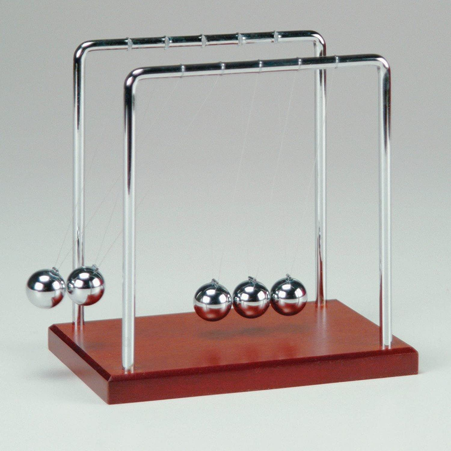Newton's Cradle with Metal Frame, Balls and Wooden Base  5.5 Inch [Toy]
