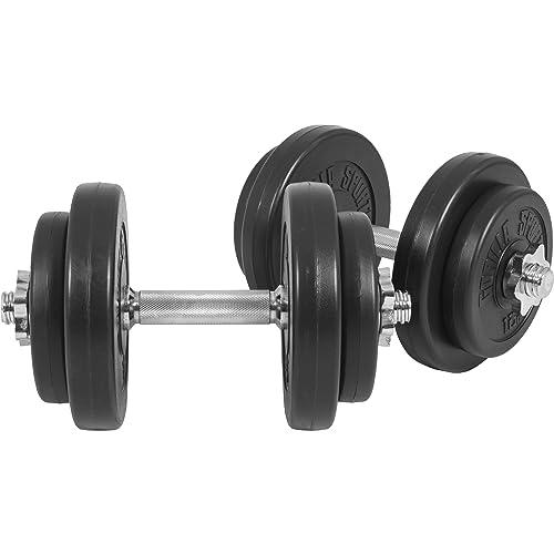 Gorilla Sports® Ensemble d´haltères Court avec revêtement en Plastique 20kg / 30kg – Barres Courtes, disques et bagues de Serrage 30/31mm