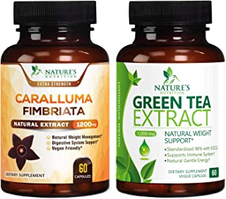 Caralluma Fimbriata Extract Highly Concentrated 1200mg and Green Tea Extract 98% Standardized EGCG for Natural Weight Supp...