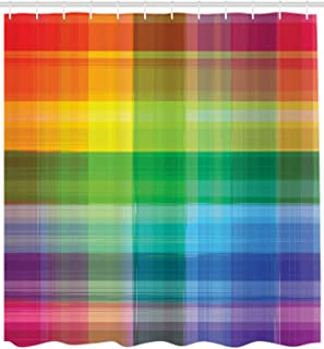 Vintage Rainbow Shower Curtain Retro Plaid,Waterproof Polyester Fabric Shower Curtain,3D High-Definition Printing Does Not Fade,12 Shower Hooks,70.8X70.8 Inch,Home Decor,Bathroom Accessories