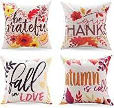 Throw Pillow Covers Square Cotton Linen Cushion Case for Outdoor Sofa Home Bedroom Car 18 X 18 Inch(4 Pcs-Fall Leaves)