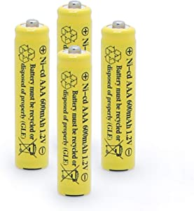 QBLPOWER 1.2v AAA NiCd 600mAh Triple A Rechargeable Battery Cell for Outdoor Solar Lights Garden Lamp (4 Pack AAA)