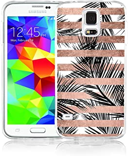 Samsung S5 Case, Galaxy S5 Case, Viwell Design Pattern Case, High Impact Protective Case for Samsung Galaxy S5 Case Rose Gold Striped Leaves