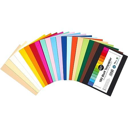 perfect ideaz 100 feuilles de Cartonette DIN-A6 (105 x 148 mm), Papier à dessin, teinté dans la masse, en 20 coloris différents, grammage 120 g/m², Feuilles de bricolage d'excellente qualité