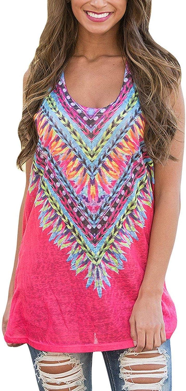 Teewanna Women's Tribal Print Scoop Neck Casual Tunic Tank Top Sleeveless Shirt