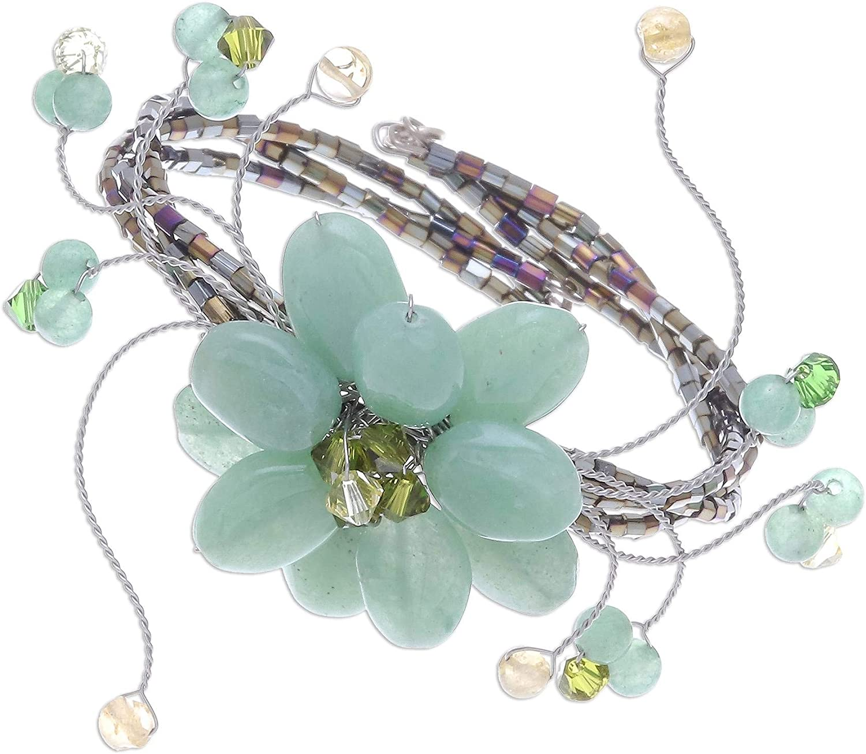 NOVICA Multi-Gem Quartzite Stainless Steel Cuff Bracelet, Lime Bouquet'