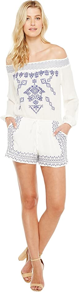Brigitte Bailey - Adalia Long Sleeve Off the Shoulder Embroidered Romper