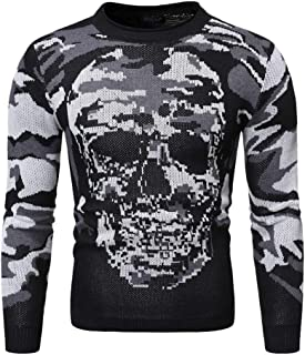 GOWOM Halloween Men's Autumn Winter Casual Long Sleeve Pullover Knitted Sweater Top