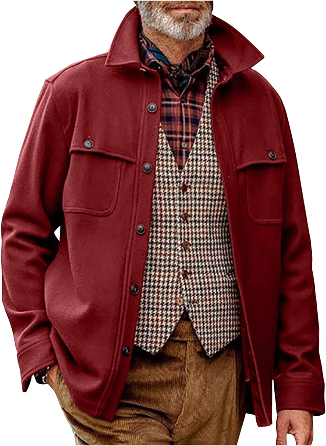 Men's Quilted Wool Coat Casual Loose Single Breasted Thick Walker Trench Coat Classic Pure Color Topcoat Winter/Fall