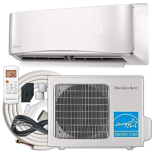 DuctlessAire 24,000 Btu 20.5 SEER Energy Star Ductless Mini Split Air Conditioner and Heat Pump Variable Speed Inverter 220V, 25ft Installation Kit (24000 Btu 21 SEER)