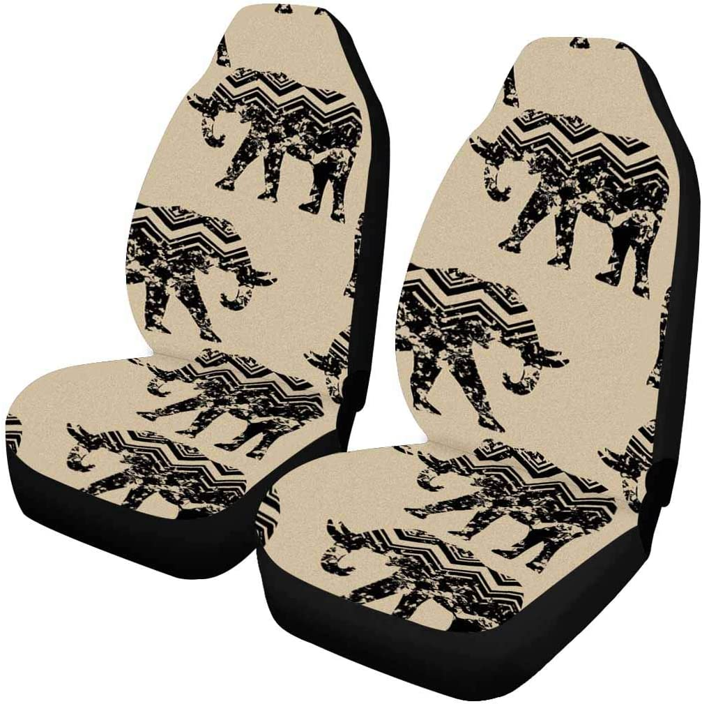 INTERESTPRINT Tribal Long-awaited Elephant India Front of Seat 70% OFF Outlet Car Covers Set