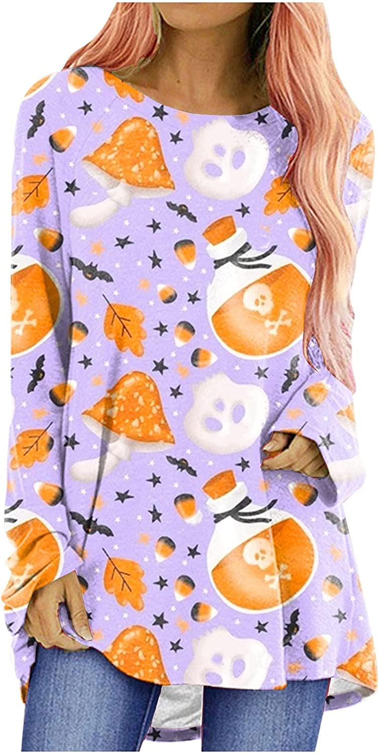 Halloween Womens Long Sleeve T-Shirt Crewneck Over 67% OFF of fixed price item handling ☆ Casual Flowy Tunic