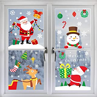 ricluck 307 PCS Christmas Window Clings Decal Stickers, Xmas Snowflake Window Sticker Winter Wonderland Decorations Ornaments Party Supplies 10 Sheets
