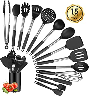 Silicone Cooking Utensil Sets, 15 pcs Kitchen Utensils Set, Non-stick Heat Resistant Silicone Cookware with Stainless Steel Handle, BPA-Free Cookware Kitchen Tools Set, Black
