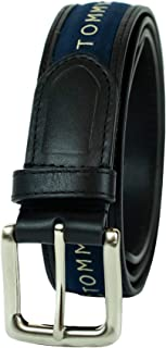 Men's Ribbon Inlay Belt - Ribbon Fabric Design with Single Prong Buckle
